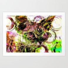 digital cat Art Print