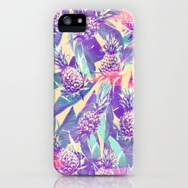 Trendy tropical pink violet pineapple banana leaves iPhone Case