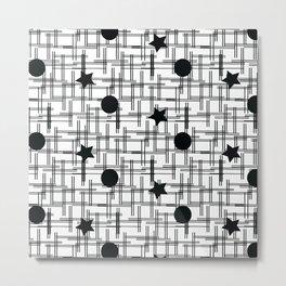Stars and Dots Black White Pattern Metal Print