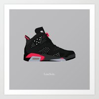 "air jordan Art Prints featuring Air Jordan VI ""Infrared"" by LineSole."