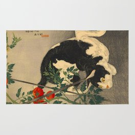 Shotei Takahashi Black & White Cat Tomato Garden Japanese Woodblock Print Rug