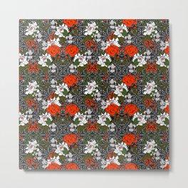 Dark Floral Mosaic Pattern I Metal Print