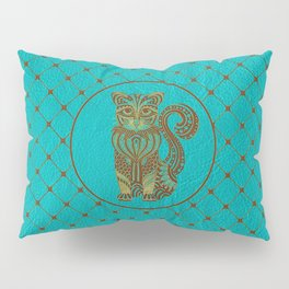 Zentangle  Cat Embossed on Faux Leather Pillow Sham