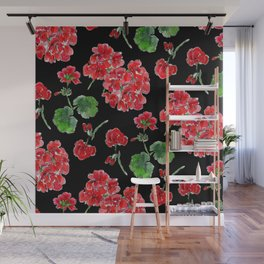 Red Geranium with black background Wall Mural