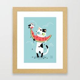 Watermelon Cat Framed Art Print
