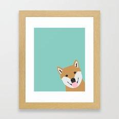 Shiba Inu Peek - cute shiba doge peeking funny dog art print mint turquoise customizable dog gift Framed Art Print