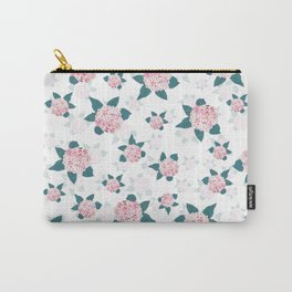 Elegant Blooming Hydrangea Pink White Floral  Carry-All Pouch