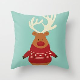 Rudolph Red Nosed Reindeer in Ugly Christmas Sweaters Throw Pillow