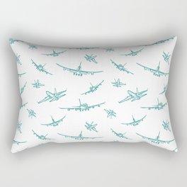 Teal Airplanes Rectangular Pillow