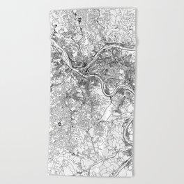 Pittsburgh White Map Beach Towel