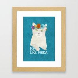 Be like Frida! White cat in flower crown on sky blue Framed Art Print