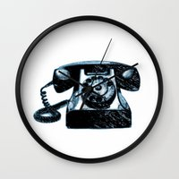 telephone Wall Clocks featuring Old Telephone by Mr & Mrs Quirynen