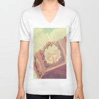 shabby chic V-neck T-shirts featuring Carousel Photograph - vintage circus, nursery decor, shabby chic by Scarlett Ella