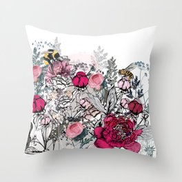 Beautiful vector illustration with peony flowers, herbs, plants and bees in vintage style Throw Pillow