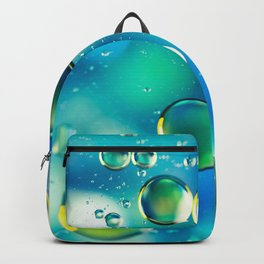 Macro Water Droplets  Aquamarine Soft Green Citron Lemon Yellow and Blue jewel tones Backpack