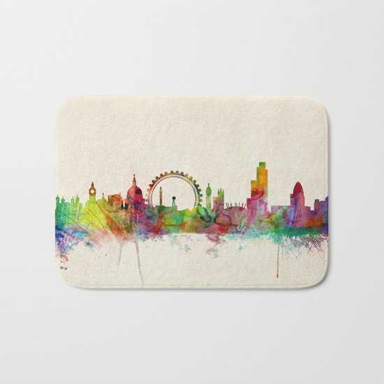 London Skyline Watercolor Bath Mat