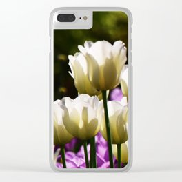 Purple and White Tulips Clear iPhone Case