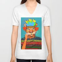 navajo V-neck T-shirts featuring Navajo Dreams by terezamc.