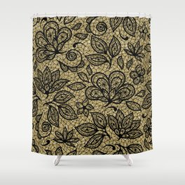 Black and Gold Lace Effect Floral Shower Curtain