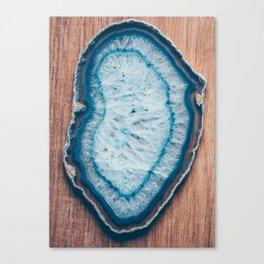 Blue Agate #woodbackground Canvas Print