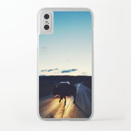 Bison in the Headlights Clear iPhone Case