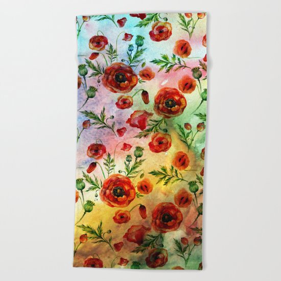 Poppy LOVE pattern Beach Towel
