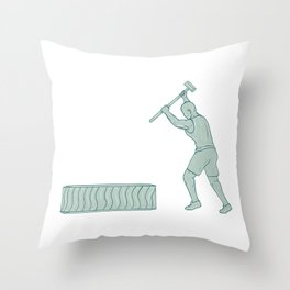 Fitness Athlete Sledge Hammer Striking Tire Drawing Throw Pillow
