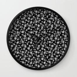Festive Black and White Christmas Holiday Snowflakes Wall Clock
