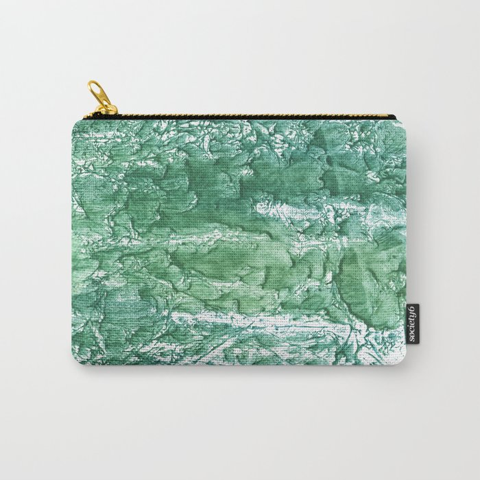 Sea green streaked watercolor pattern Carry-All Pouch
