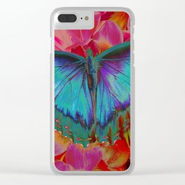 Extreme Blue Morpho Butterfly Clear iPhone Case