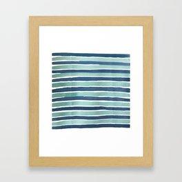Aqua Teal Stripe Framed Art Print