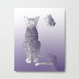 zen cat and butterfly Metal Print