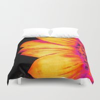 sunflower Duvet Covers featuring Sunflower Pink Yellow by PureVintageLove