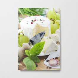 delicatessen soft cheese with grape and vegetables Metal Print