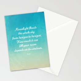 Moonlight Floods the Whole Sky - Beautiful Quote by Rumi Stationery Cards
