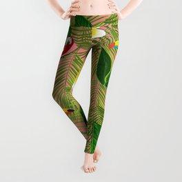 Palm Leaves and Frangipani Hawaiian Pattern Leggings