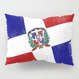 Dominican Republic Distressed Halftone Denim Flag Pillow Sham