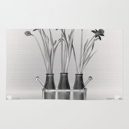Daffodils in Milk Bottles Rug