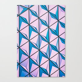 Pink Blue Geometric Triangle Pattern Canvas Print