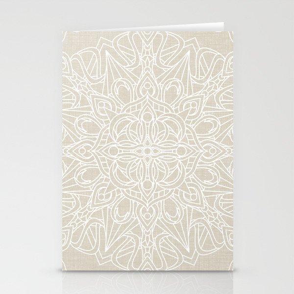 White Lace Mandala on Antique Ivory Linen Background Stationery Cards