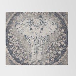 Indian Elephant Mandala Throw Blanket