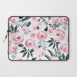 Floral Rose Watercolor Flower Pattern Laptop Sleeve