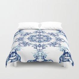 blue garden mandala Duvet Cover