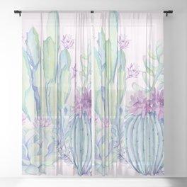 Mixed Cacti Pink #society6 #buyart Sheer Curtain