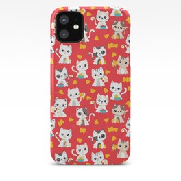 Taco Cat Burrito Kitten Pattern Red iPhone Case