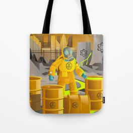 biohazard suit man with barrels near nuclear meltdown in powerplant Tote Bag