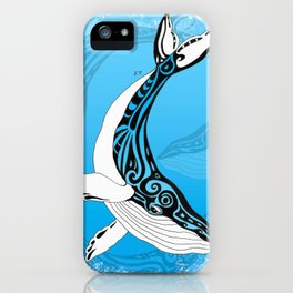 Humpback Whale Tribal Blue Ink Drawing iPhone Case