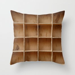 Empty wooden cabinet with cells Throw Pillow
