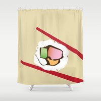 sushi Shower Curtains featuring Sushi by Nathan Rhoads