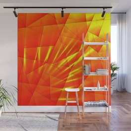 Bright sunshine on orange and yellow triangles of irregular shape. Wall Mural